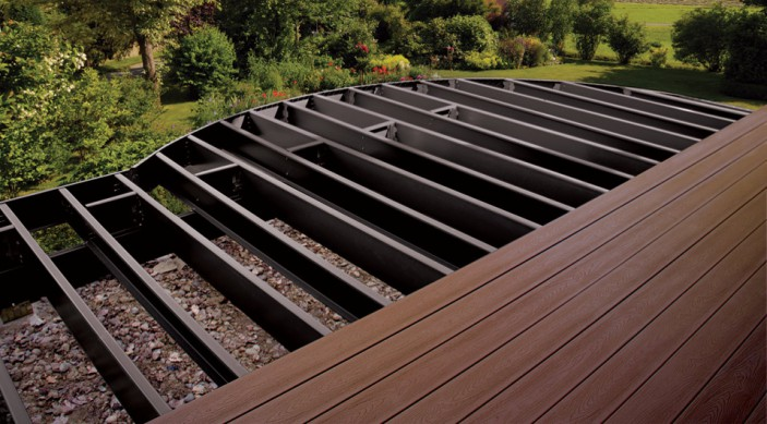 Trex Elevations steel deck framing can withstand hurricane-force winds and is non-combustible.