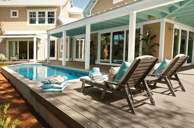 Trex Transcend decking in Gravel Path grey and Trex Outdoor patio Furniture  frame on a pool - Design Considerations Trex