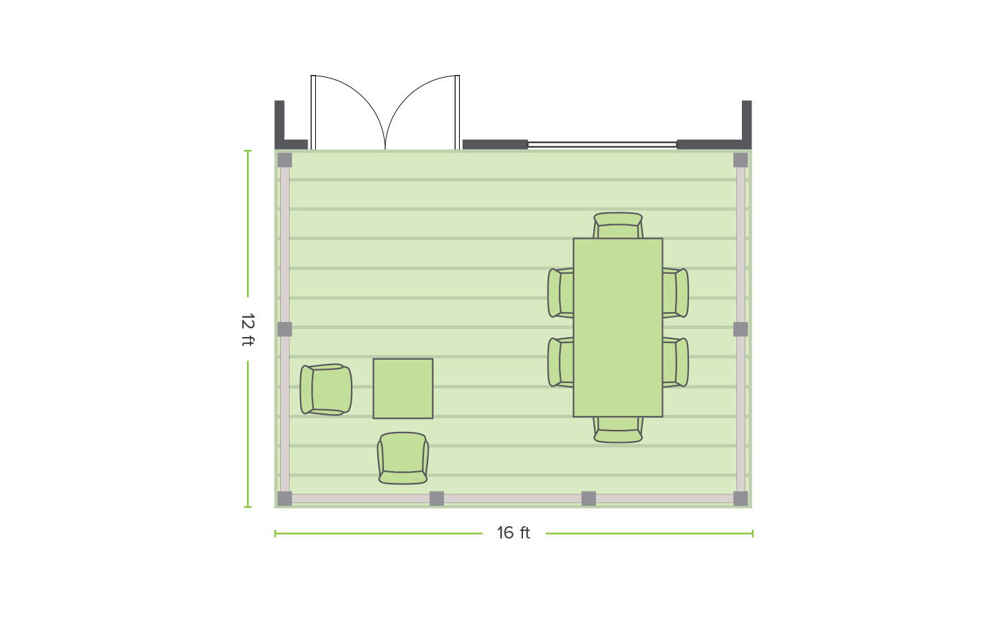 Trex created rectangle deck designs in 5 different sizes. Displayed here is the 12x16ft floorplan.